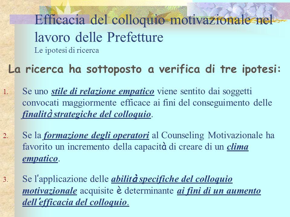 Efficacia del colloquio motivazionale nel lavoro delle Prefetture Le ipotesi di ricerca