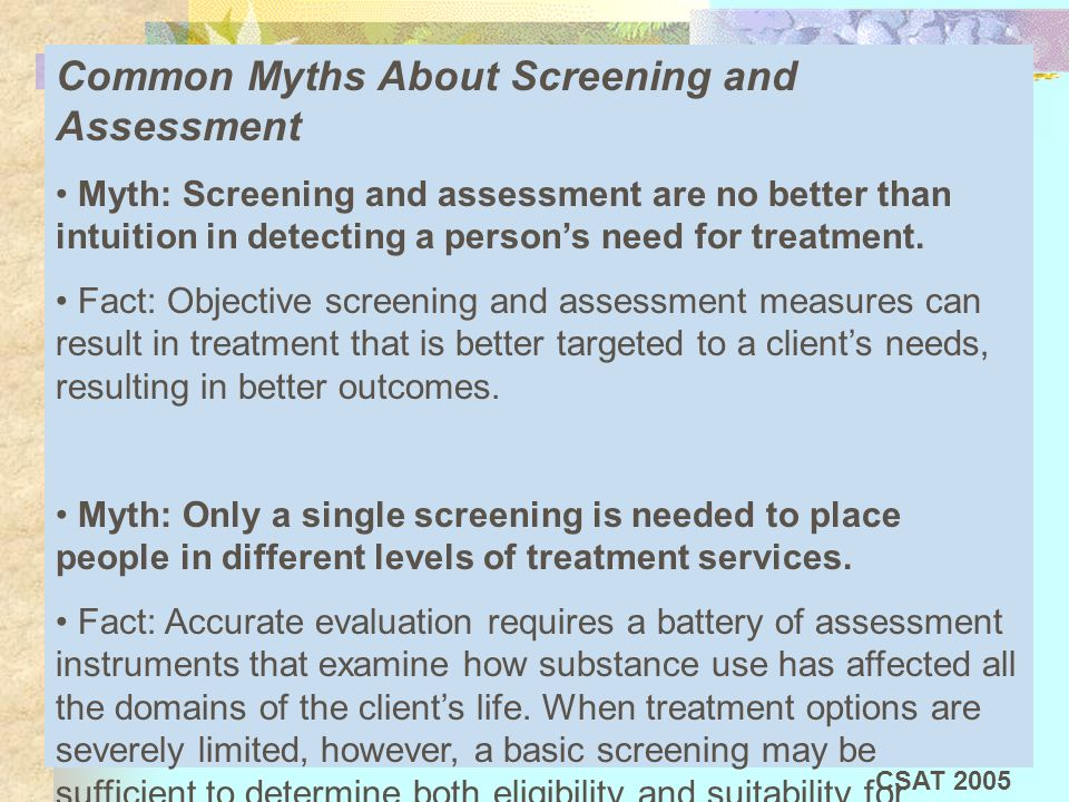 Common Myths About Screening and Assessment