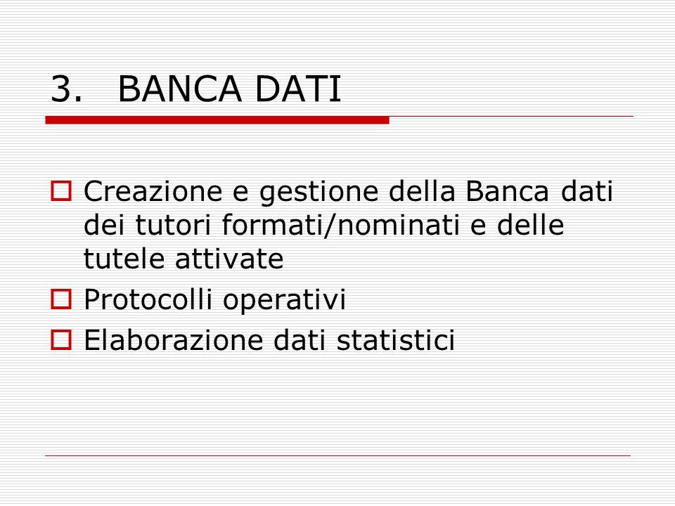 3. BANCA DATI Creazione e gestione della Banca dati dei tutori formati/nominati e delle tutele attivate.