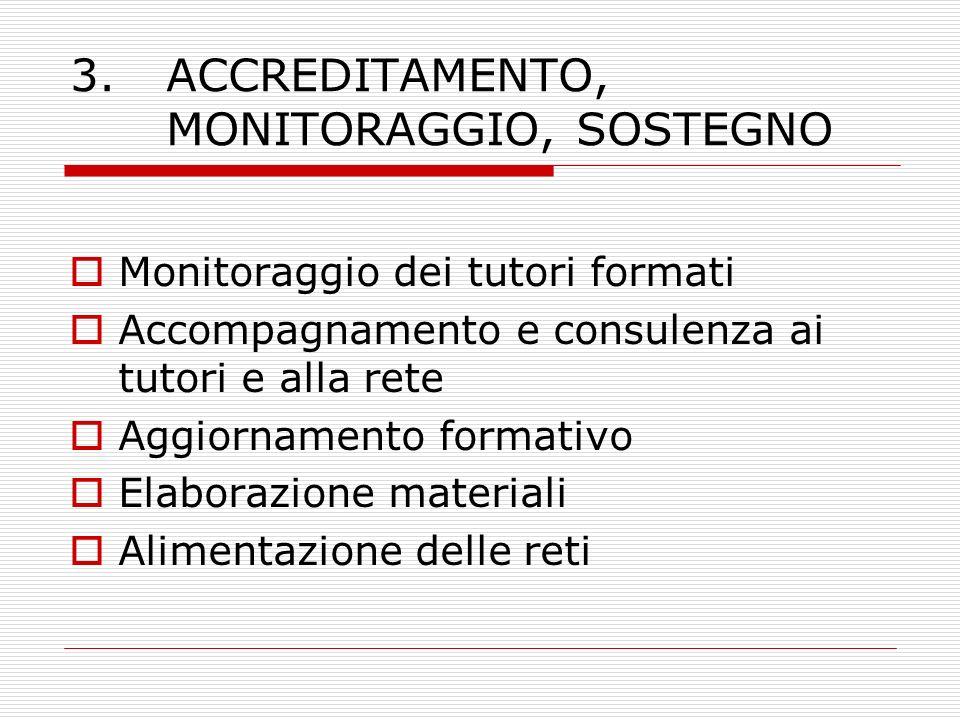 3. ACCREDITAMENTO, MONITORAGGIO, SOSTEGNO