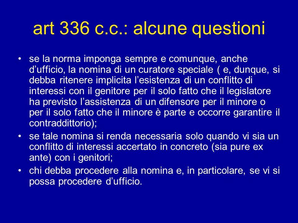art 336 c.c.: alcune questioni