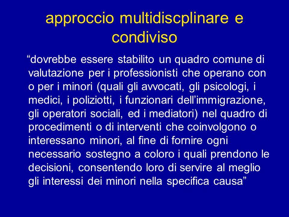 approccio multidiscplinare e condiviso