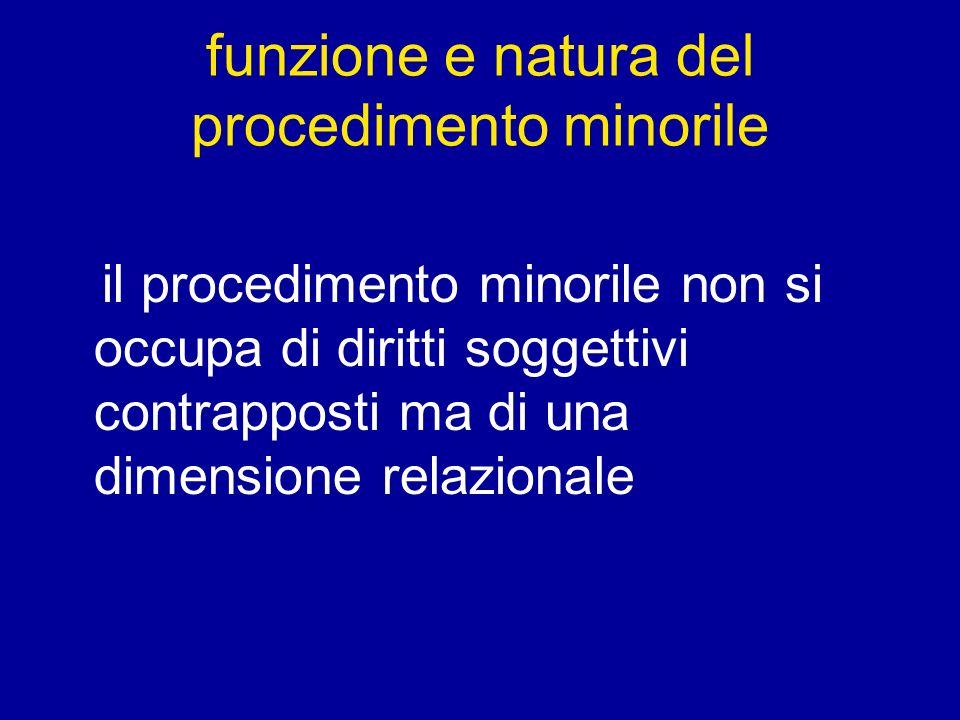 funzione e natura del procedimento minorile