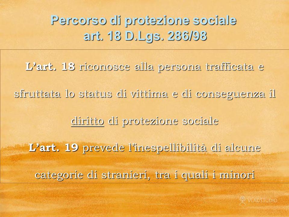 Percorso di protezione sociale art. 18 D.Lgs. 286/98