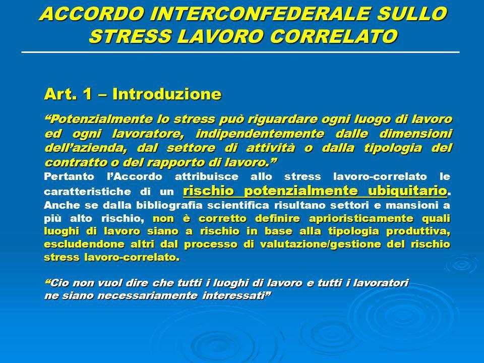 ACCORDO INTERCONFEDERALE SULLO STRESS LAVORO CORRELATO
