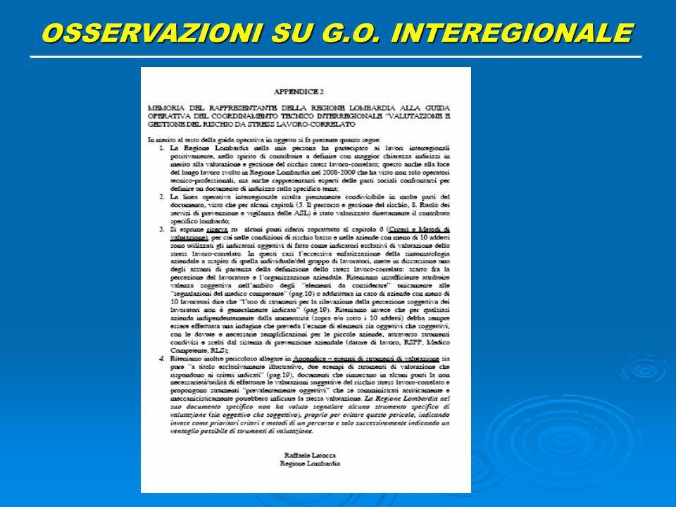 OSSERVAZIONI SU G.O. INTEREGIONALE