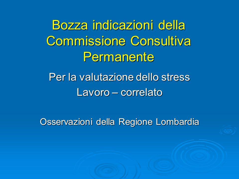 Bozza indicazioni della Commissione Consultiva Permanente