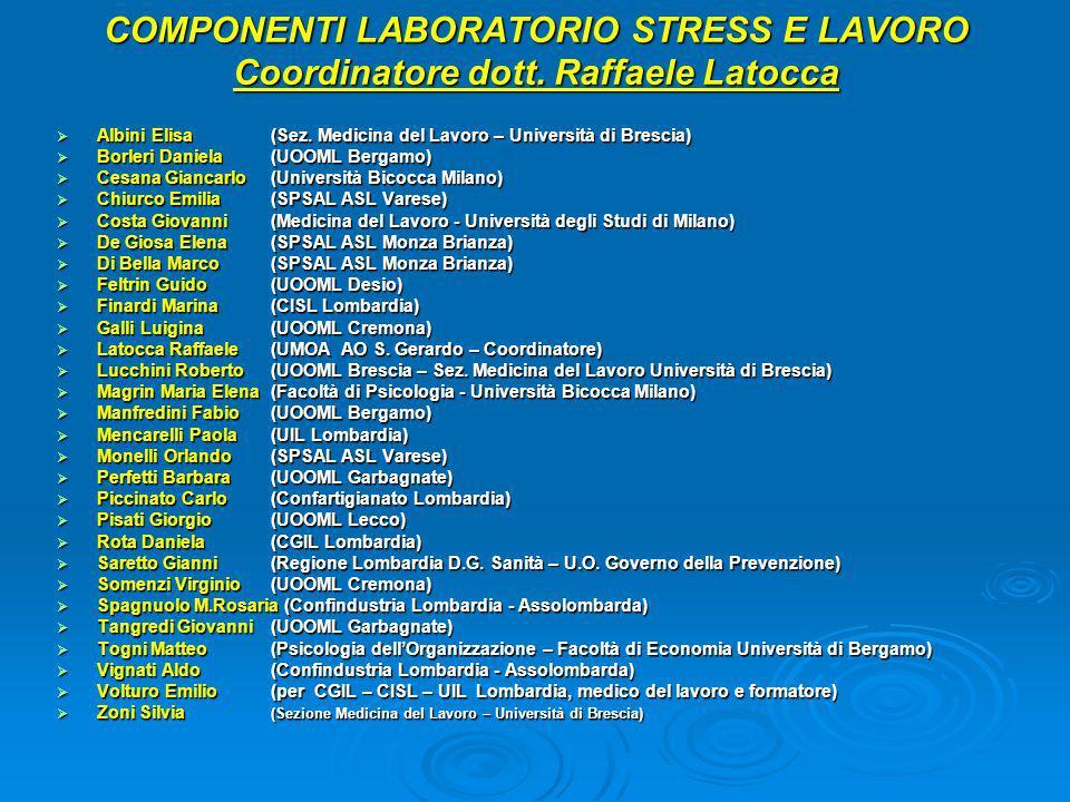 COMPONENTI LABORATORIO STRESS E LAVORO Coordinatore dott