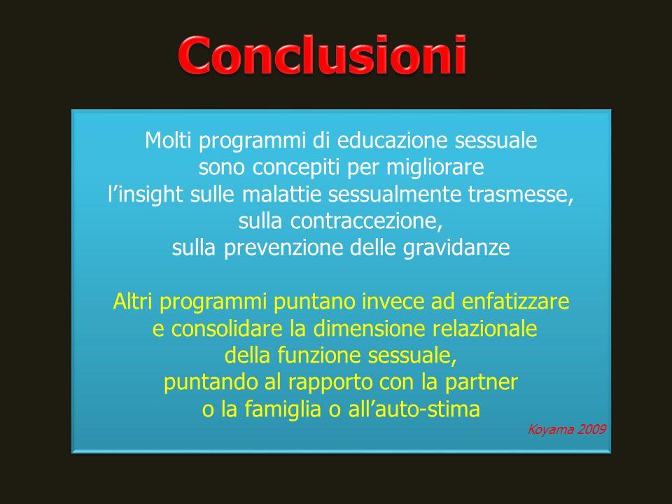 Conclusioni Molti programmi di educazione sessuale