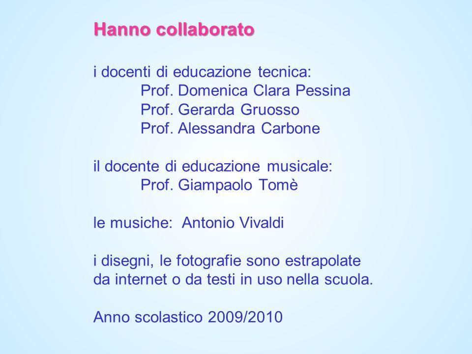 Hanno collaborato i docenti di educazione tecnica:. Prof