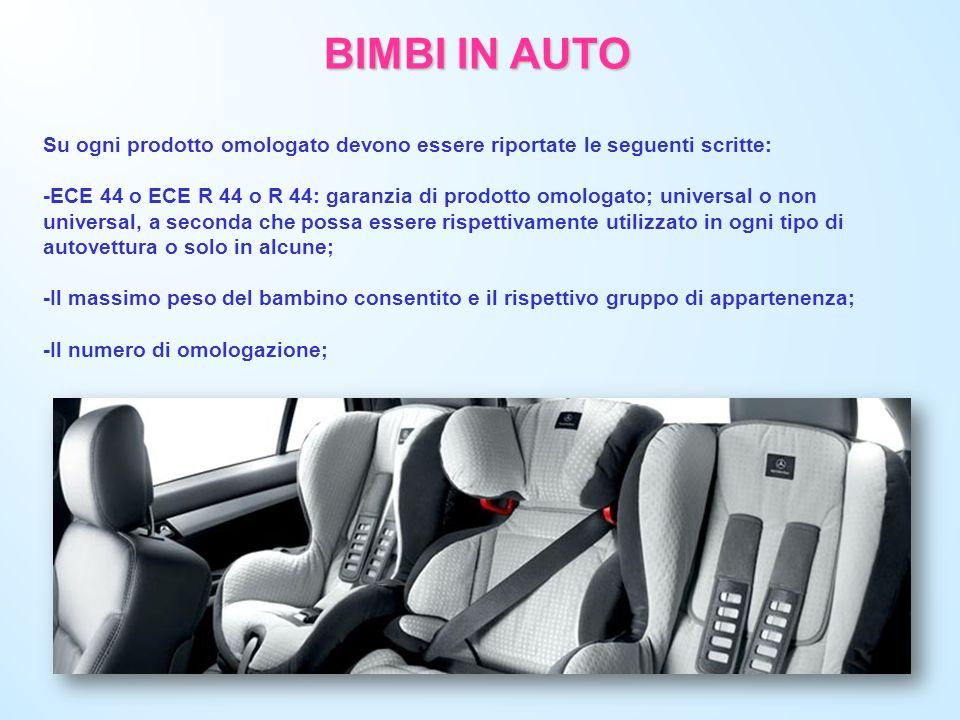 BIMBI IN AUTO Su ogni prodotto omologato devono essere riportate le seguenti scritte: