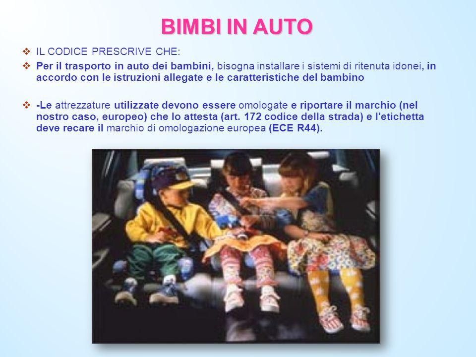 BIMBI IN AUTO IL CODICE PRESCRIVE CHE: