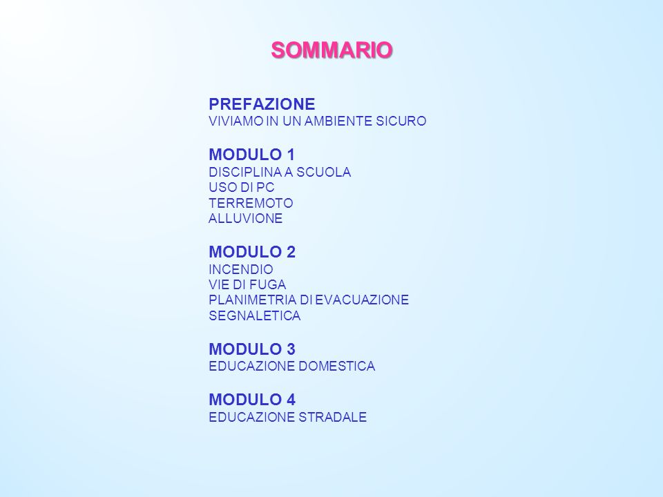 SOMMARIO PREFAZIONE MODULO 1 MODULO 2 MODULO 3 MODULO 4