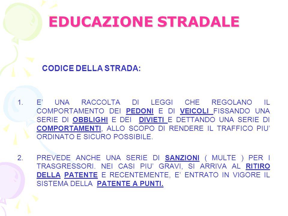 EDUCAZIONE STRADALE CODICE DELLA STRADA: