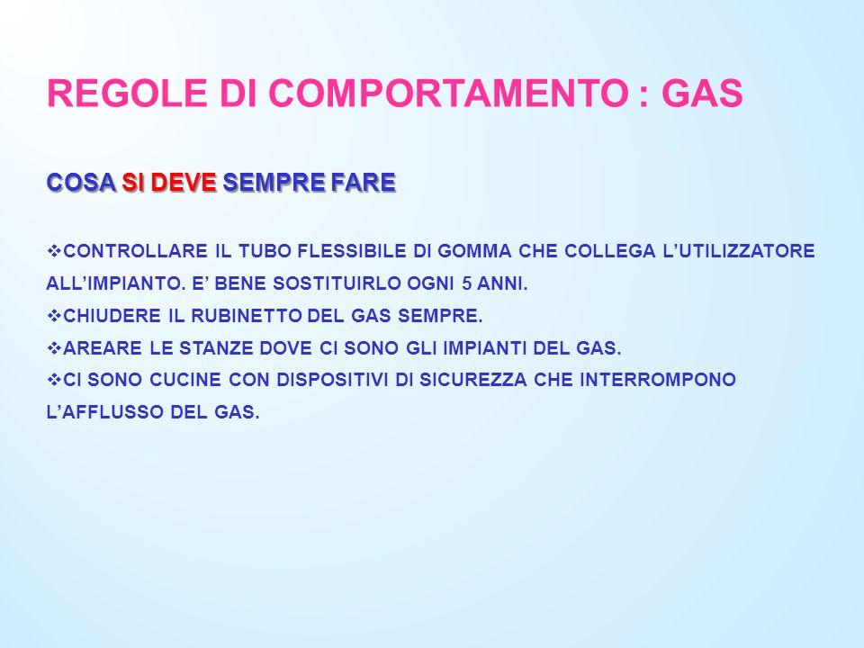 REGOLE DI COMPORTAMENTO : GAS