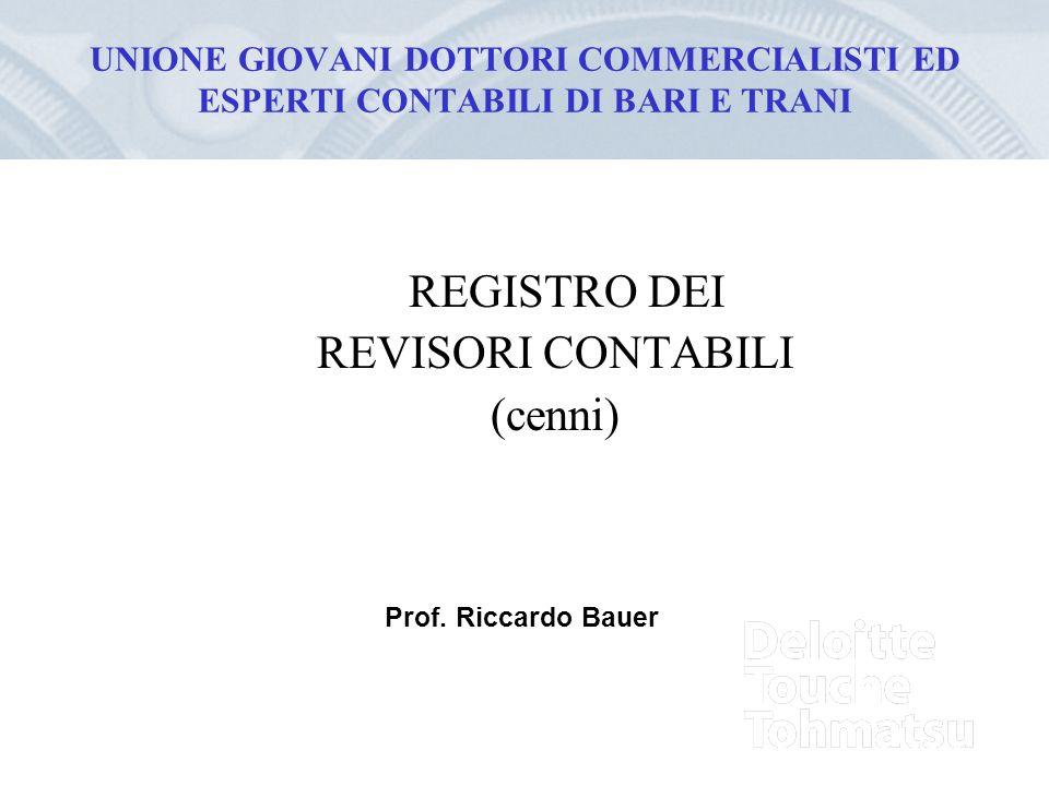 REGISTRO DEI REVISORI CONTABILI (cenni)