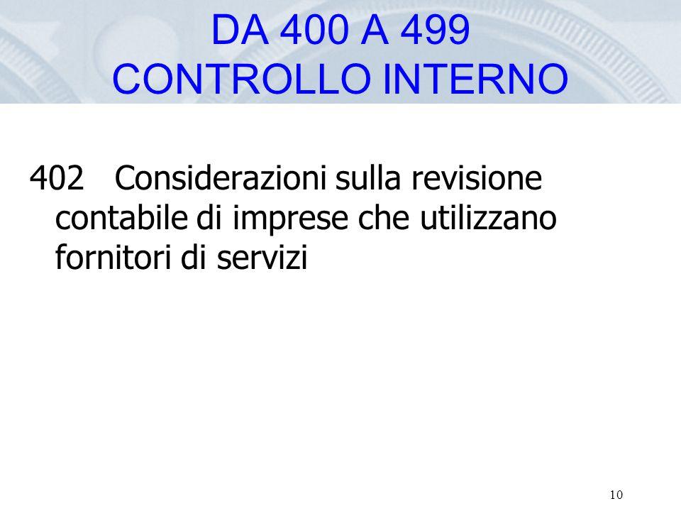 DA 400 A 499 CONTROLLO INTERNO 402 Considerazioni sulla revisione contabile di imprese che utilizzano fornitori di servizi.