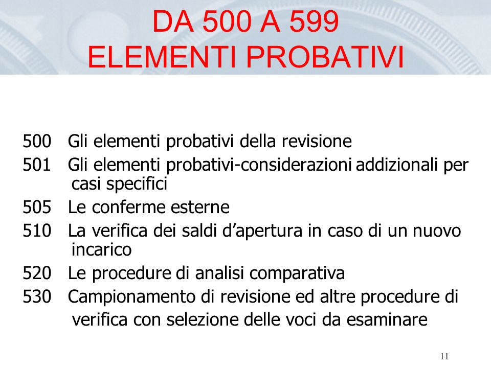 DA 500 A 599 ELEMENTI PROBATIVI