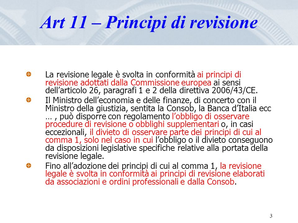 Art 11 – Principi di revisione