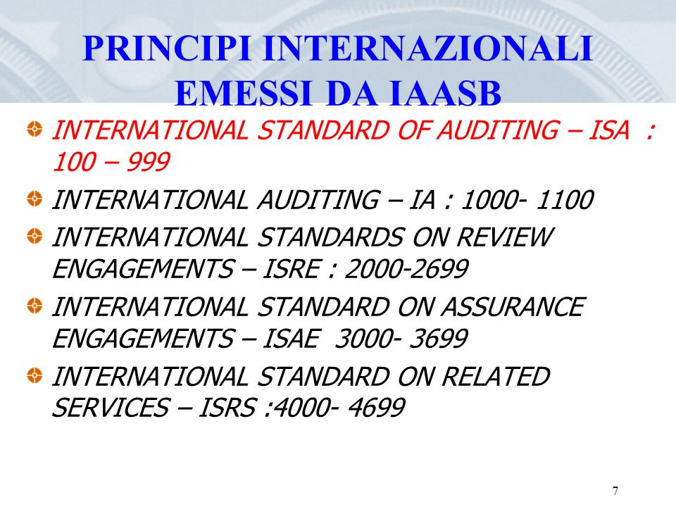 PRINCIPI INTERNAZIONALI EMESSI DA IAASB