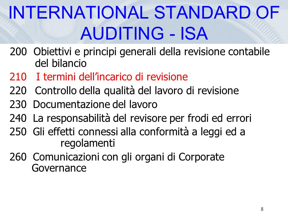 INTERNATIONAL STANDARD OF AUDITING - ISA