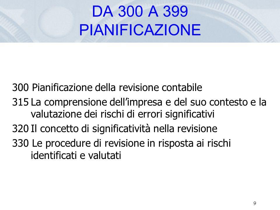 DA 300 A 399 PIANIFICAZIONE 300 Pianificazione della revisione contabile.