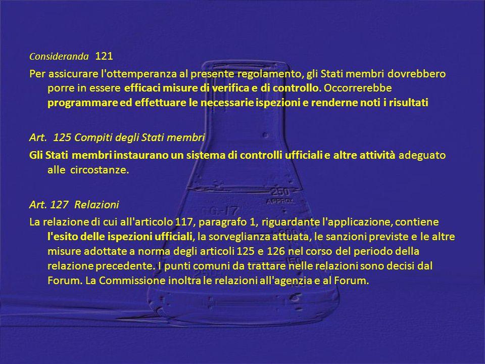 Art. 125 Compiti degli Stati membri