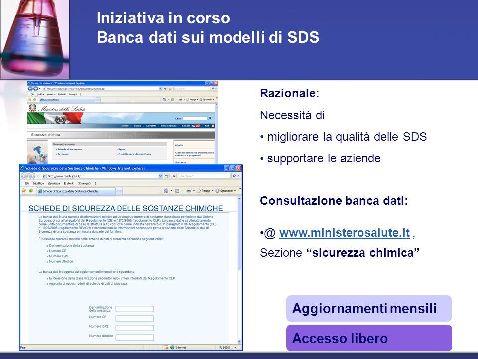 Iniziativa in corso Banca dati sui modelli di SDS