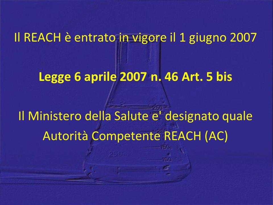 Il REACH è entrato in vigore il 1 giugno 2007 Legge 6 aprile 2007 n