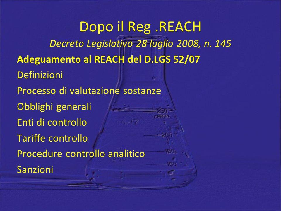 Dopo il Reg .REACH