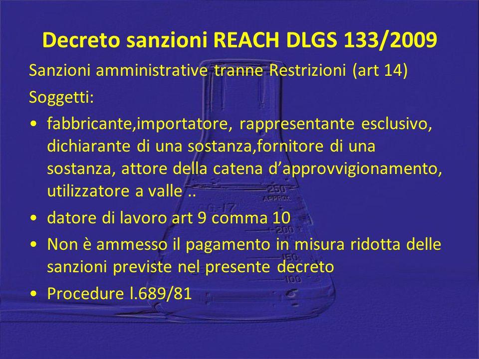 Decreto sanzioni REACH DLGS 133/2009