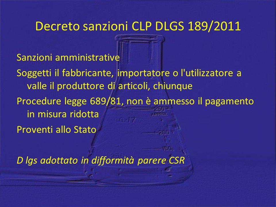 Decreto sanzioni CLP DLGS 189/2011