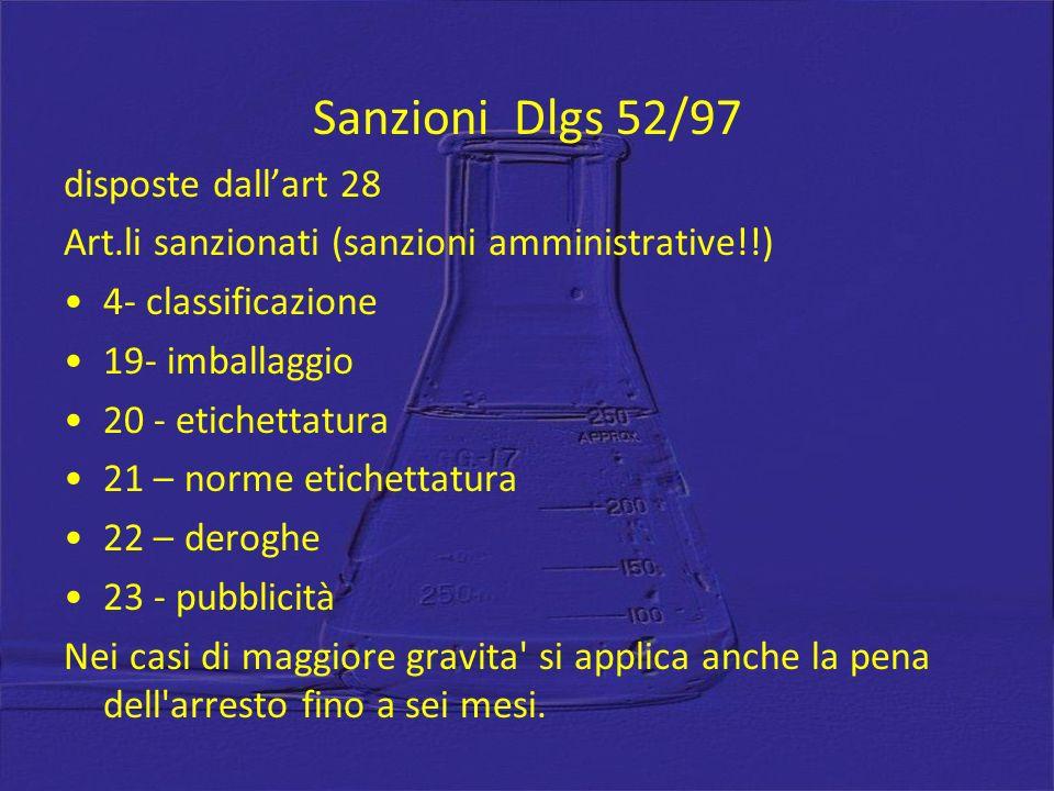 Sanzioni Dlgs 52/97 disposte dall'art 28