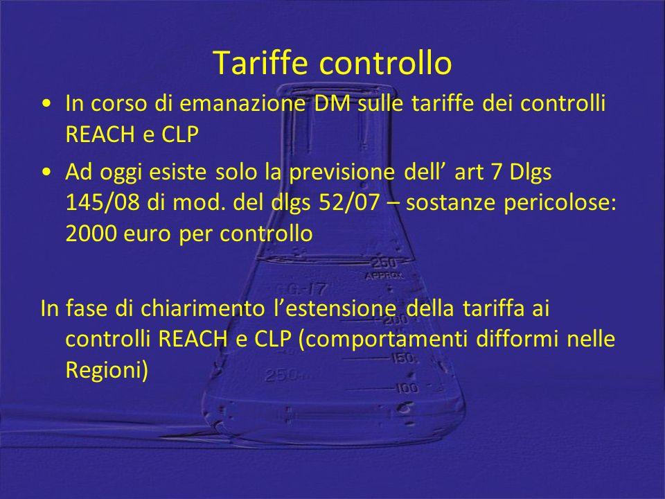 Tariffe controllo In corso di emanazione DM sulle tariffe dei controlli REACH e CLP.