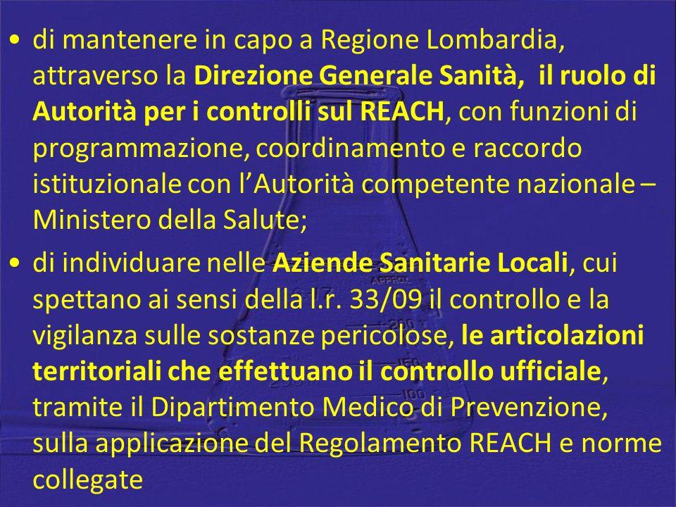 di mantenere in capo a Regione Lombardia, attraverso la Direzione Generale Sanità, il ruolo di Autorità per i controlli sul REACH, con funzioni di programmazione, coordinamento e raccordo istituzionale con l'Autorità competente nazionale – Ministero della Salute;
