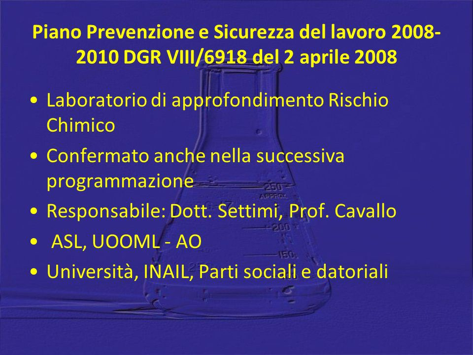 Piano Prevenzione e Sicurezza del lavoro 2008-2010 DGR VIII/6918 del 2 aprile 2008