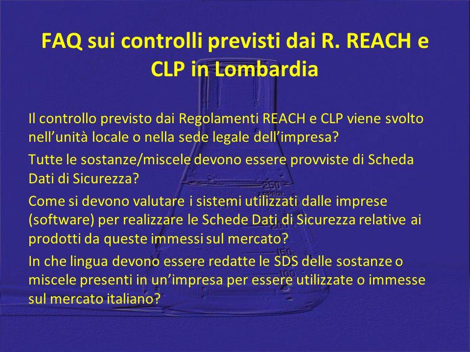 FAQ sui controlli previsti dai R. REACH e CLP in Lombardia