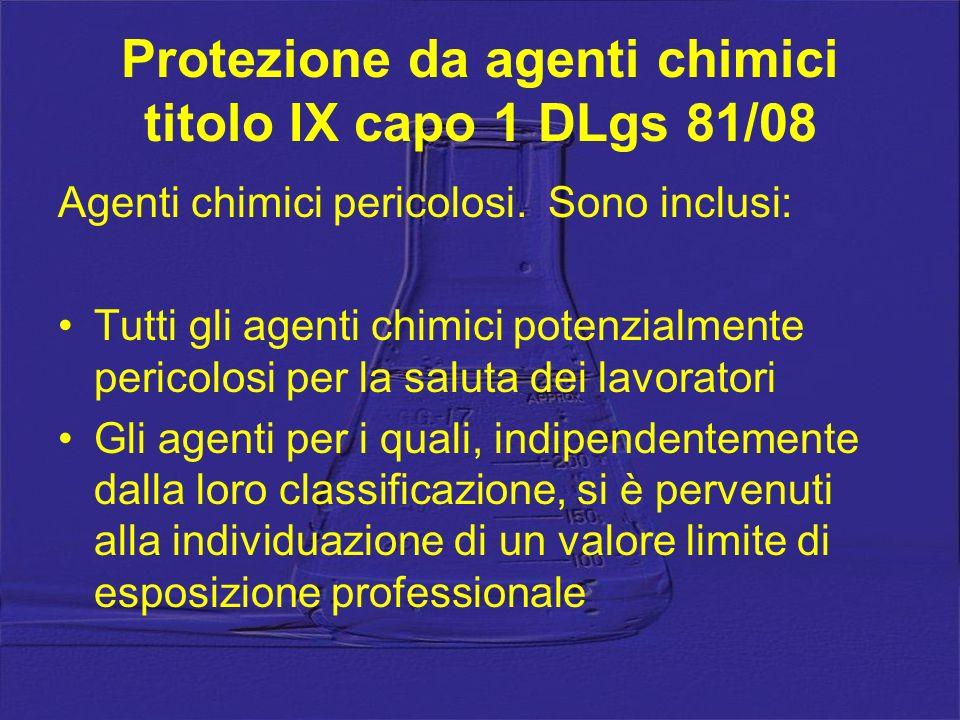 Protezione da agenti chimici titolo IX capo 1 DLgs 81/08
