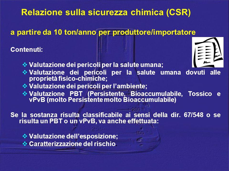 Relazione sulla sicurezza chimica (CSR)