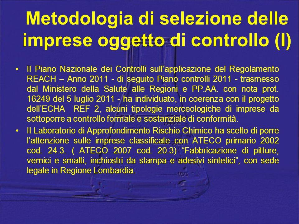 Metodologia di selezione delle imprese oggetto di controllo (I)
