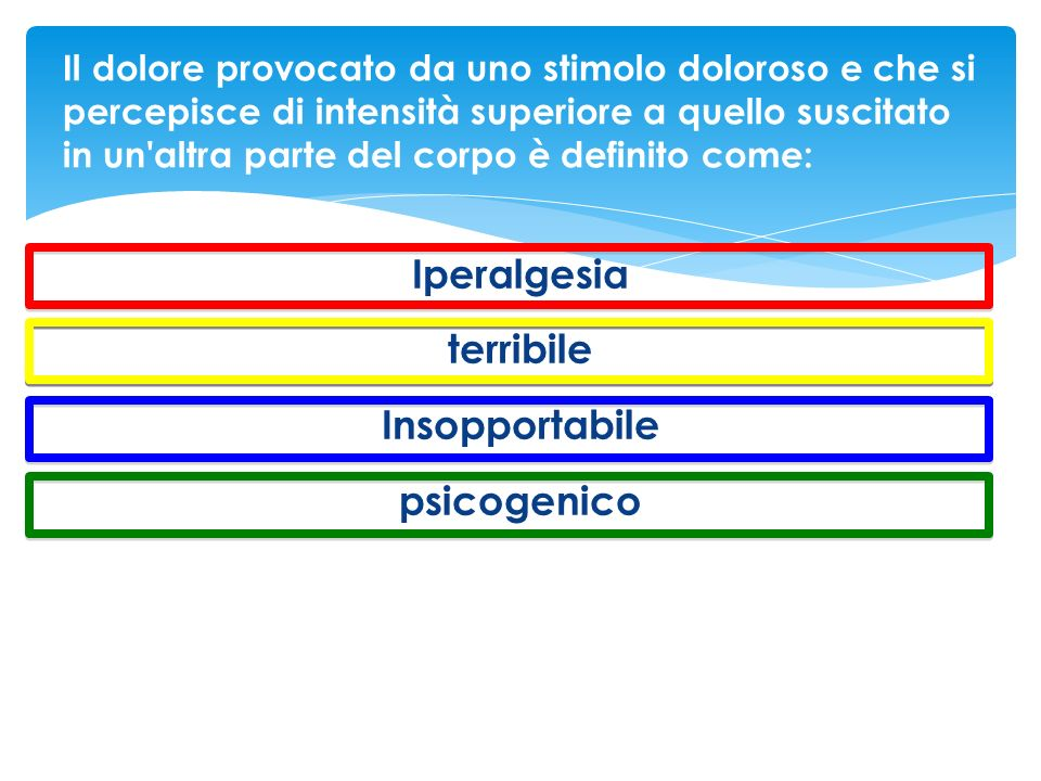 Iperalgesia terribile Insopportabile psicogenico