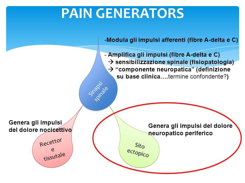 PAIN GENERATORS Modula gli impulsi afferenti (fibre A-delta e C)