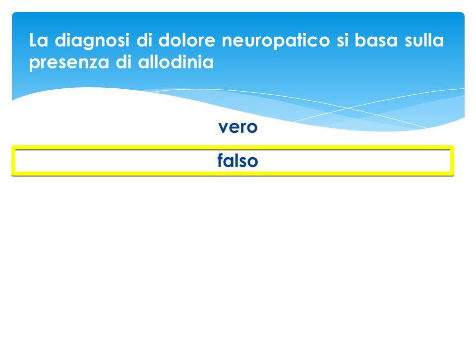 La diagnosi di dolore neuropatico si basa sulla presenza di allodinia