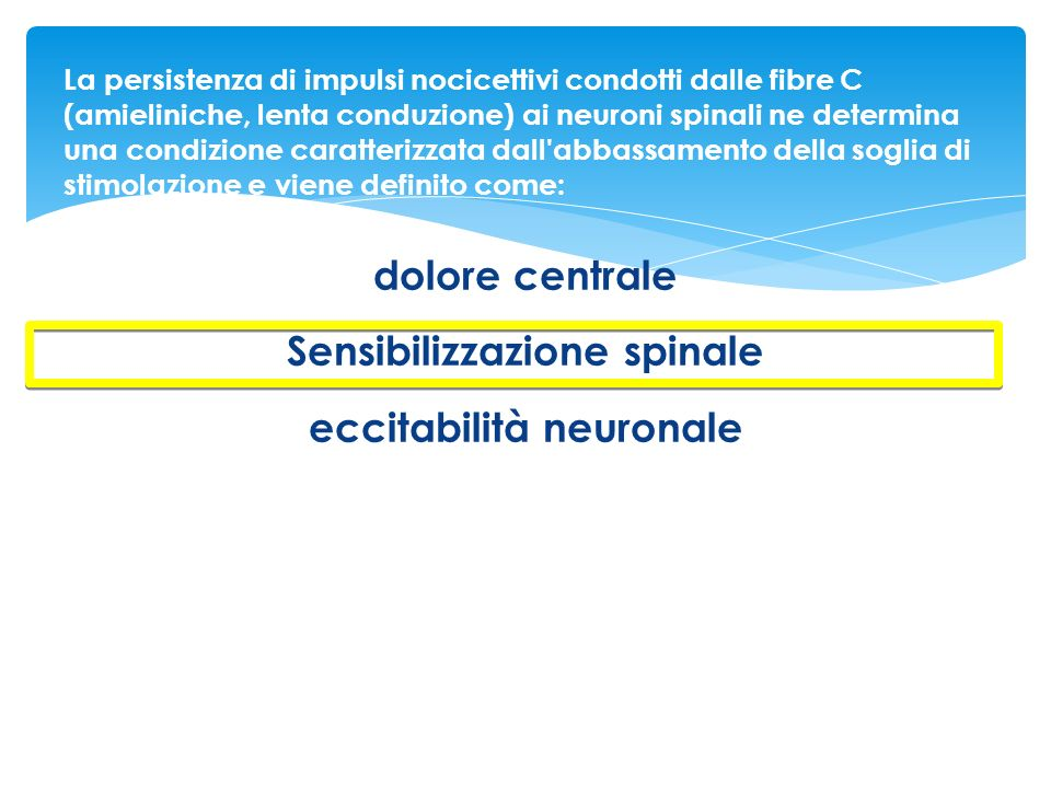 Sensibilizzazione spinale eccitabilità neuronale
