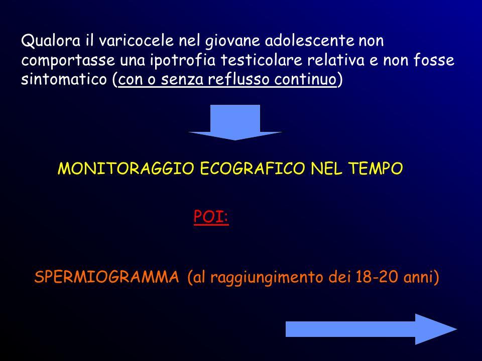 Qualora il varicocele nel giovane adolescente non comportasse una ipotrofia testicolare relativa e non fosse sintomatico (con o senza reflusso continuo)