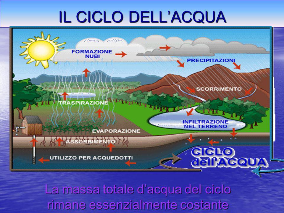 La massa totale d'acqua del ciclo rimane essenzialmente costante