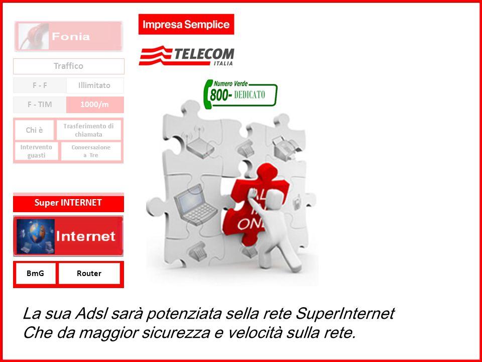 La sua Adsl sarà potenziata sella rete SuperInternet