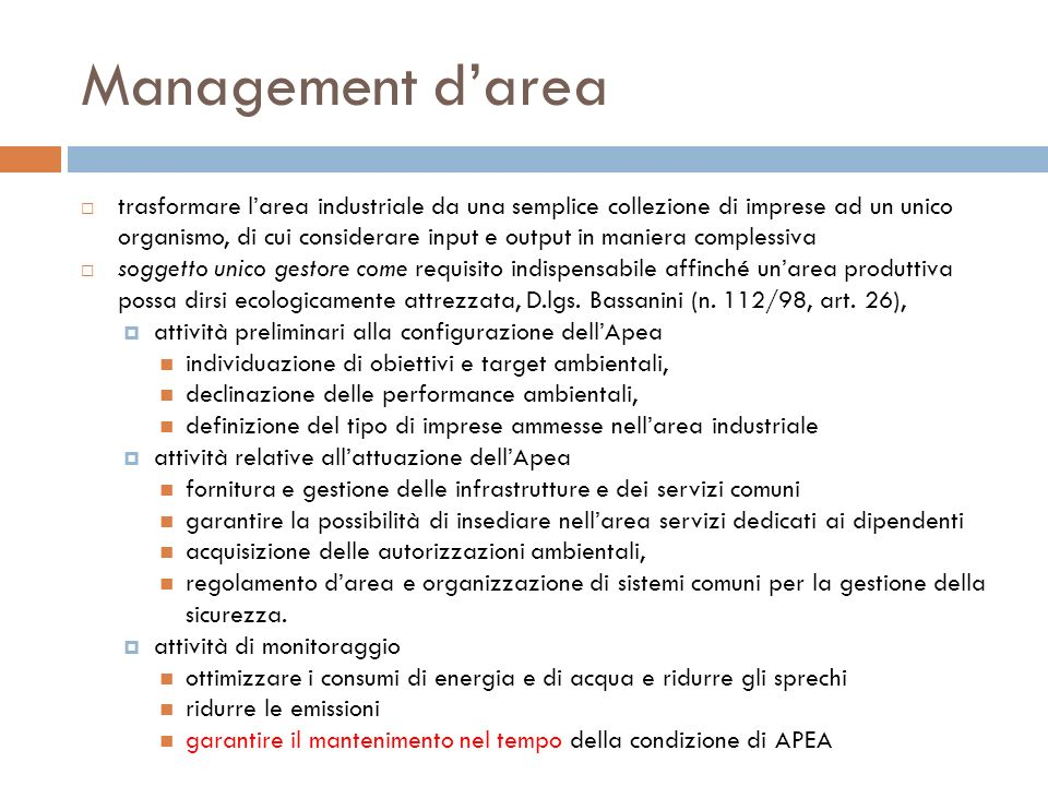 Management d'area