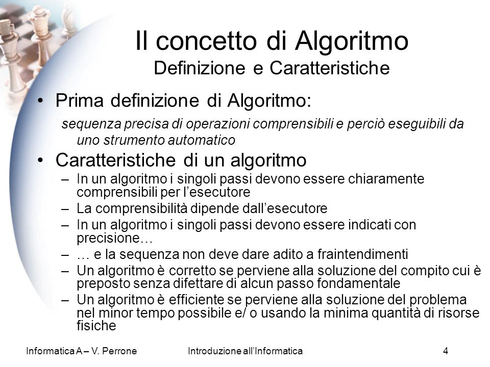 Il concetto di Algoritmo Definizione e Caratteristiche