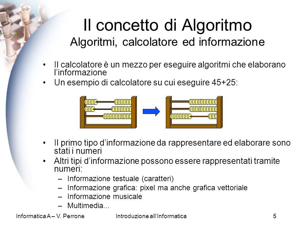 Il concetto di Algoritmo Algoritmi, calcolatore ed informazione